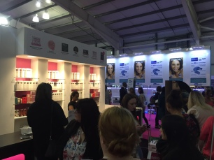 The Fake Bake stand was busy and eye catching.